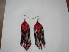 "Seed  Bead Earrings NEW long red  /black   3 1/2 "" handcrafted Native American"