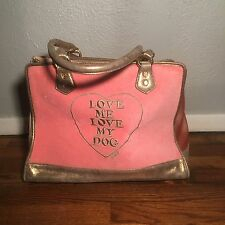 Juicy Couture Dog Pet Carrier Pink Velour Gold Hardware Large Travel Tote Bag