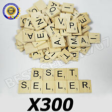 300 WOOD SCRABBLE TILES WOODEN BLACK NUMBERS LETTERS BOARD CRAFTS GENUINE UK NEW