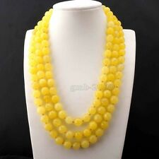 "AAA Charming Genuine 8mm Faceted Yellow Jade Round Gemstone Necklace 51""Long"