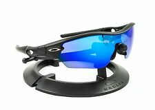 OAKLEY RADAR EDGE MATTE BLACK FRAME W/ REVANT ICE BLUE POLARIZED CUSTOM LENSES