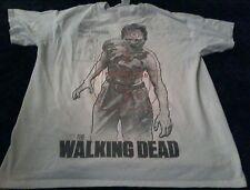 The Walking Dead Bullseye Zombie Male Walker Gray T Shirt Sz Large