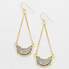 Gold Tone Druzy Silver Stone Crescent Moon Drop Chandelier Earrings