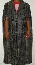 Neiman Marcus Grey Swakara Broadtail Lamb Fur Cape Coat Size 16-18 Excell Cond