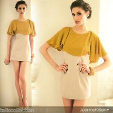Joanne Kitten Cape Sleeve Colour Block Office Lady Work Wear Mini Dress JK-5475