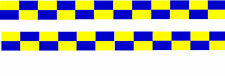 * 2 x POLICE DECAL BLUE & YELLOW BATTENBERG STRIPES white undercoat  POLICE code