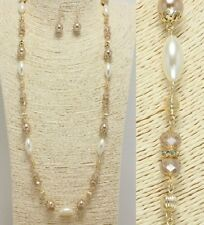 Gold Brown and Cream Pearl Long FASHION Necklace Set
