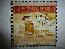 COMEDY WOMEN Fabric Cotton Craft Quilting Panel - I Need Cupcakes NOW !!