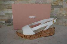 MIU MIU Gr 36,5 Plateau Sandaletten sandals schuhe shoes weiß NEU UVP 290 €