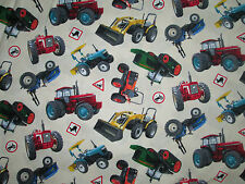 TRACTORS FARM VEHICLES SIGNS CREAM COTTON FABRIC FQ