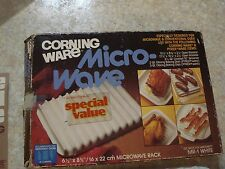Corning Ware White Microwave Bacon Grill RACK MR-1 w/box and instruction book!