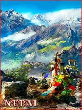 Nepal Southeast Asia Asian Mt. Mount Everest Travel Advertisement Poster