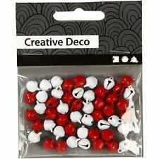 Mini Bells - Jingle Christmas Craft Decoration Charm - Red & White x 50 - 8mm