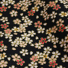 Japanese 100% Cotton Craft Fabric Floral Kimono Sakura Cherry Flowers Black - FQ