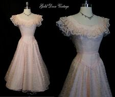 Gorgeous Vintage 70s Pink Lace Formal Wedding Party Dress 2XS