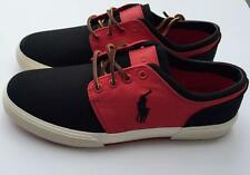 Ralph Lauren Mens Polo Canvas faxon low sneakers black red 9.5 D big pony new