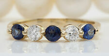 .72CTW Natural Blue Sapphire and DIAMOND in 14K Solid Yellow Gold Women Ring