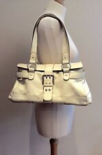 TULA CREAM IVORY LEATHER HANDBAG SILVER BUCKLE