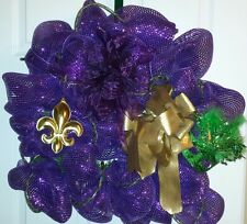A Full New Orleans' Style Mardi Gras Deco Mesh Wreath/ With Free Bundle