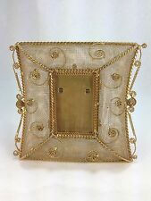 ART DECO STYLE FLORAL BRASS MESH WIRE PICTURE FRAME