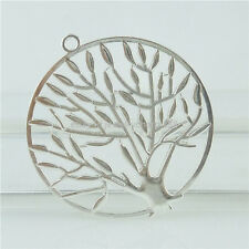 15410 7PCS Alloy Bright Silver Large Plant Hollow Tree Of Life Pendant Charm