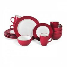Red Dinnerware Set 16 Piece Service for 4 Dishes Plates Stoneware White Mugs