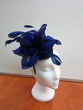 Ladies Special Fascinator Cream Ivory Gold Green Blue Purple Feathers Wedding