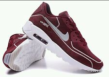 Mens nike air max 90 Athletic Casual Running Shoes Burgundy/White Size 10 W/ Box