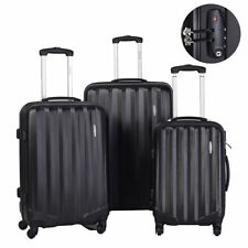 GLOBALWAY 3 Pcs Luggage Travel Set Bag ABS Trolley Suitcase w/TSA Lock Black