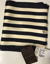 NWT GUCCI Men's 375981 SCARF ALLACRE NAVY/IVORY SILK CREPE FORMAL SCARF 8X63 IN