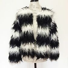 LoveRiche Womens Shaggy White Black Striped Faux Fur Coat Burning Jacket Man S