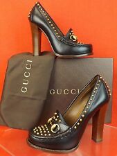 NIB GUCCI BLACK LEATHER ALYSSA HORSEBIT STUDDED SPIKES LOAFERS PUMPS 36 6