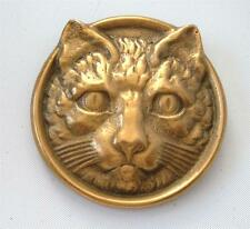 Vintage Victorian Revival Cat Face Head Brooch Pin Gold Tone Circle Bronze ?