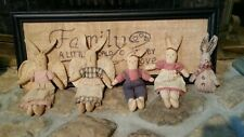 (QTY of 5) Primitive Folk ART Grungy Bunny Rabbits Extreme Dolls