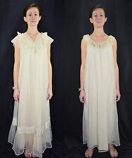 Vintage 70's Sheer Ivory Full Length Nightgown Robe Peignoir Set Shadowline - P