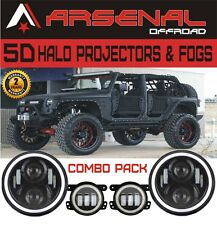 """2x 7"""" CREE LED Headlight Projector Halo Eyes+ 2x 4"""" Fog Lamps for Jeep Wrangler"""