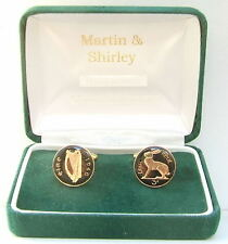 1946 IRISH Cufflinks made from old IRELAND Threepence coins in Black & Gold