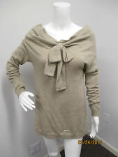 Twinset by Simona Barbieri Wheat Sweater Top w/Bow @ Front & Button Down Back XS