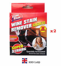 2 x WINE STAIN REMOVER SACHETS Cleaner Red Wine Drink Fabric Stains Removes Pack
