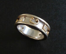 Trendy 14k White Gold Diamond Ring Sz-6.5 Wide Band Etruscan Accents VS1 RG139