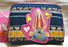 "BARBIE Blue Denim ""Love & Peace"" Zippered WALLET COIN PURSE Tote NEW!!"