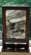 ANTIQUE 19C CHINESE STONE TABLE SCREEN W/ PAINTED FIGURES &POEM IN CARVED FRAME