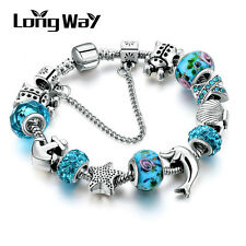 Blue European 925 Glass Bead Charms Bracelet Crystal Women Christmas Jewelry R