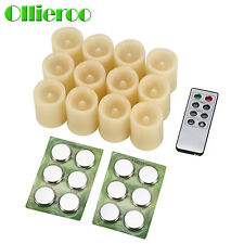 Ollieroo 12 PCS Round Melted Edge Flameless LED Votive Candles with Remote Ivory