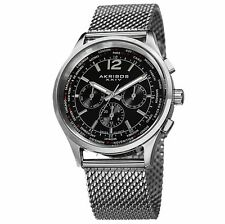 Akribos XXIV Mens AK716SSB Multifunction Silver Stainless Steel Mesh Watch