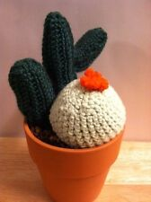Handmade KNITTED SAGUARO & BARREL CACTUS #9 Handcrafted RED CLAY POT Crocheted