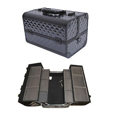 "14"" Pro Aluminum Cosmetics Makeup Jewelry Train Case Organizer Box Diamond"