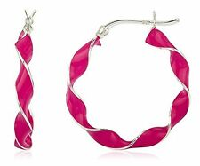 Real 925 Sterling Silver Spiral 1.25 Inch Pink Enamel Hoop Earrings