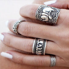 Women Boho Beach Bohemian Retro Carved Silver Elephant Totem Leaf Lucky Ring Set