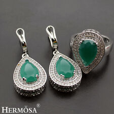 Natural Green Emerald 925 Sterling Silver Jewelry Sets AAA Earrings,Ring Size 8